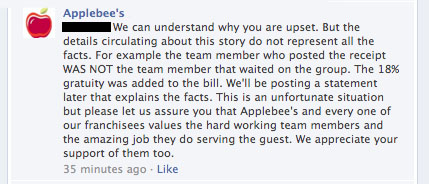Applebee's tweet 2