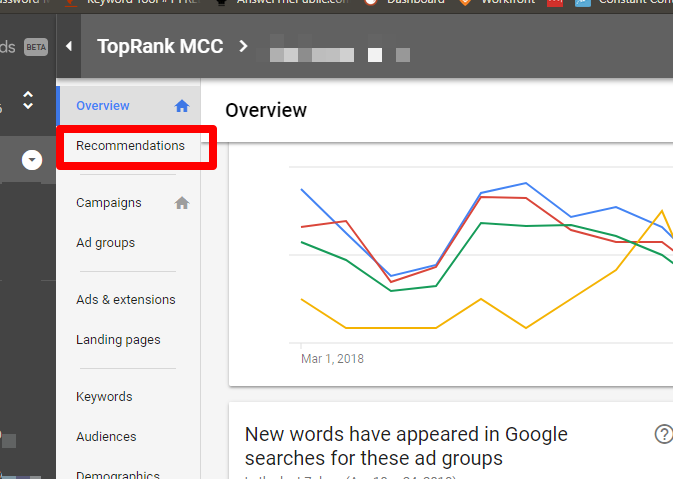 New AdWords Opportunity Tab