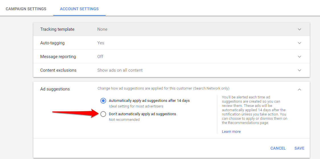 AdWords Opt-Out for Automatic Recommendation Implementation